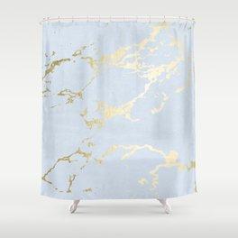 Kintsugi Ceramic Gold on Sky Blue Shower Curtain