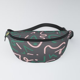Green and pink doodles Fanny Pack