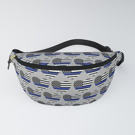Police Officer Blue Line Flags in Hearts Fanny Pack