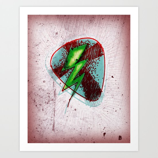 LIGHTNING GUITAR PICK Art Print