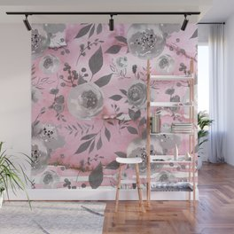 berry juice floral watercolor pink gray Wall Mural