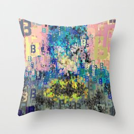 Bat Type Man - Abstract Pop Art Comic Throw Pillow