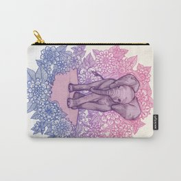 Cute Baby Elephant in pink, purple & blue Carry-All Pouch