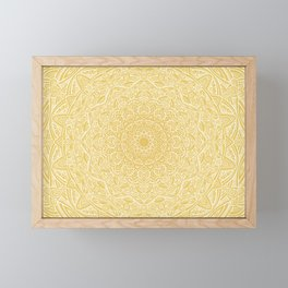 Most Detailed Mandala! Yellow Golden Color Intricate Detail Ethnic Mandalas Zentangle Maze Pattern Framed Mini Art Print