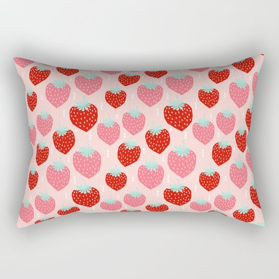 strawberries print pattern modern bright happy fun fruit berry summer fresh happy design gardener Rectangular Pillow