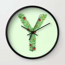 Leafy Letter Y Wall Clock