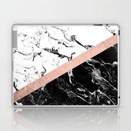 Modern black white marble color block rose gold Laptop & iPad Skin