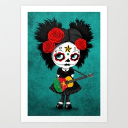 Day of the Dead Girl Playing Cameroon Flag Guitar Art Print