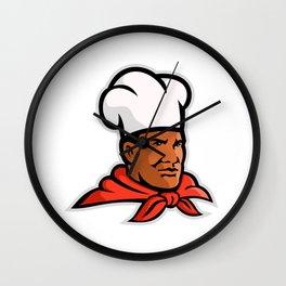 African American Chef Baker Mascot Wall Clock
