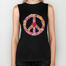 Peace Flower Sign Biker Tank