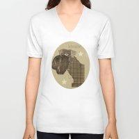 schnauzer V-neck T-shirts featuring Schnauzer  by bri.buckley