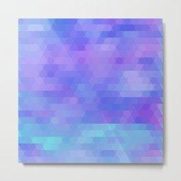 Athena, abstract geometric triangle mosaic - purple, aqua, lavender Metal Print