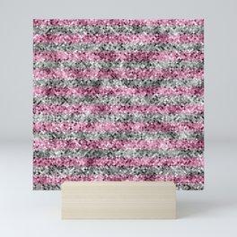 Pink and Silver Glitter Sequin Stripes Mini Art Print