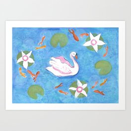Swan in Koi Pond Art Print