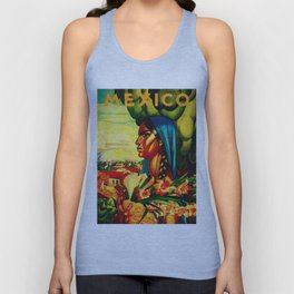 Vintage Mexico Travel - Woman with Flowers Unisex Tank Top