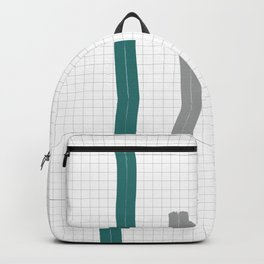 Teal and grey abstract geometry - 2 Backpack