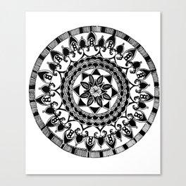 Black and White Circular Hand-Drawn Mandala Canvas Print