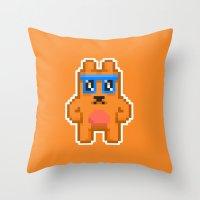 8bit Throw Pillows featuring 8Bit RaveBear by Bear Picnic