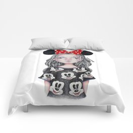 Minnie Mouse Inspired Style Girl Drawing Comforters