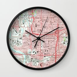 Vintage Map of Indianapolis Indiana (1967) Wall Clock