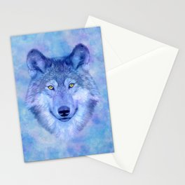 Sky blue wolf with Golden eyes Stationery Cards