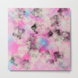 Artsy bright pink teal black abstract watercolor Metal Print