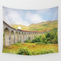 train Wall Tapestries featuring Steam train by Peaky40