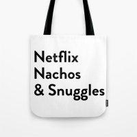 netflix Tote Bags featuring Netflix, Nachos & Snuggles by Zak Woytowich