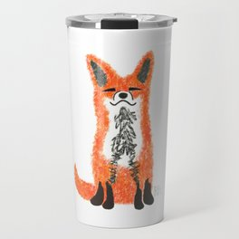Happy Fox Blue Leaves Travel Mug