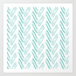 Hand Drawn Diagonal Line Pattern Brush Graphic Artwork Turquoise Love Art Print