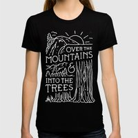 OVER THE MOUNTAINS (BW) Black SMALL Womens Fitted Tee