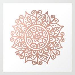 Rose Gold Floral Mandala Art Print