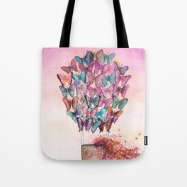 Butterfly Hot Air Balloon Illustration. Tote Bag