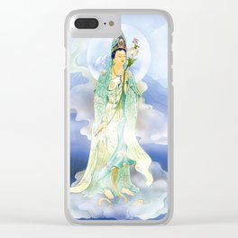 Lotus-holding Kuan Yin Clear iPhone Case