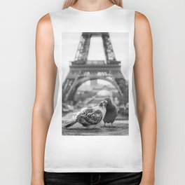 Love Birds (Black and White) Biker Tank