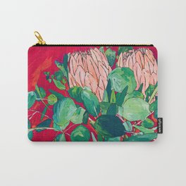 Two Proteas on Red, Pink, and Purple Floral Still Life with Fynbos Carry-All Pouch