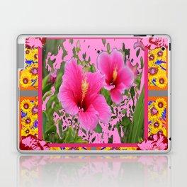 PINK TROPICAL RED-PINK HIBISCUS FLOWERS DESIGN Laptop & iPad Skin