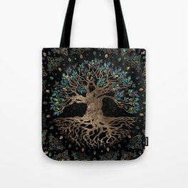 Tree of life -Yggdrasil Golden and Marble ornament Tote Bag