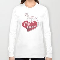 kansas Long Sleeve T-shirts featuring Flat Kansas by Snorting Pixels