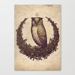 Owl Hedera Moon Canvas Print