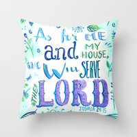 bible verse Throw Pillows featuring Purple and Blue Bible Verse by SilviaGarciaArt
