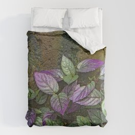 Purple and Green Leaves on Multi-Colored Bark Comforters