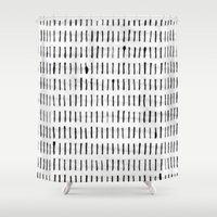 woodstock Shower Curtains featuring Black Ink Woodstock Pattern on White  by LacyDermy