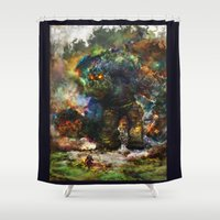 ashton irwin Shower Curtains featuring shadow of the witcher by ururuty