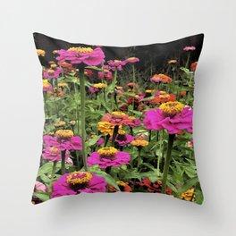 Zinnia Color Blast Throw Pillow