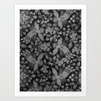 Indonesian Batik in Greyscale Art Print