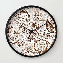Folk Floral Brown Wall Clock