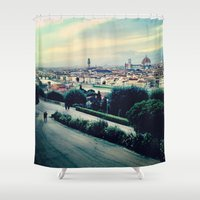 florence Shower Curtains featuring Florence by Rachel Weissman