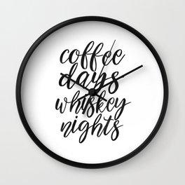 FUNNY BAR DECOR, Coffee Days Whiskey Nights,Coffee Sign,Bar Decor,Cute Home Decor,Kitchen Decor,Drin Wall Clock
