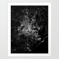 houston Art Prints featuring Houston map by Line Line Lines